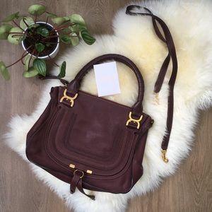 Chloe ' Marcie' Med Cognac Leather Satchel Bag EUC